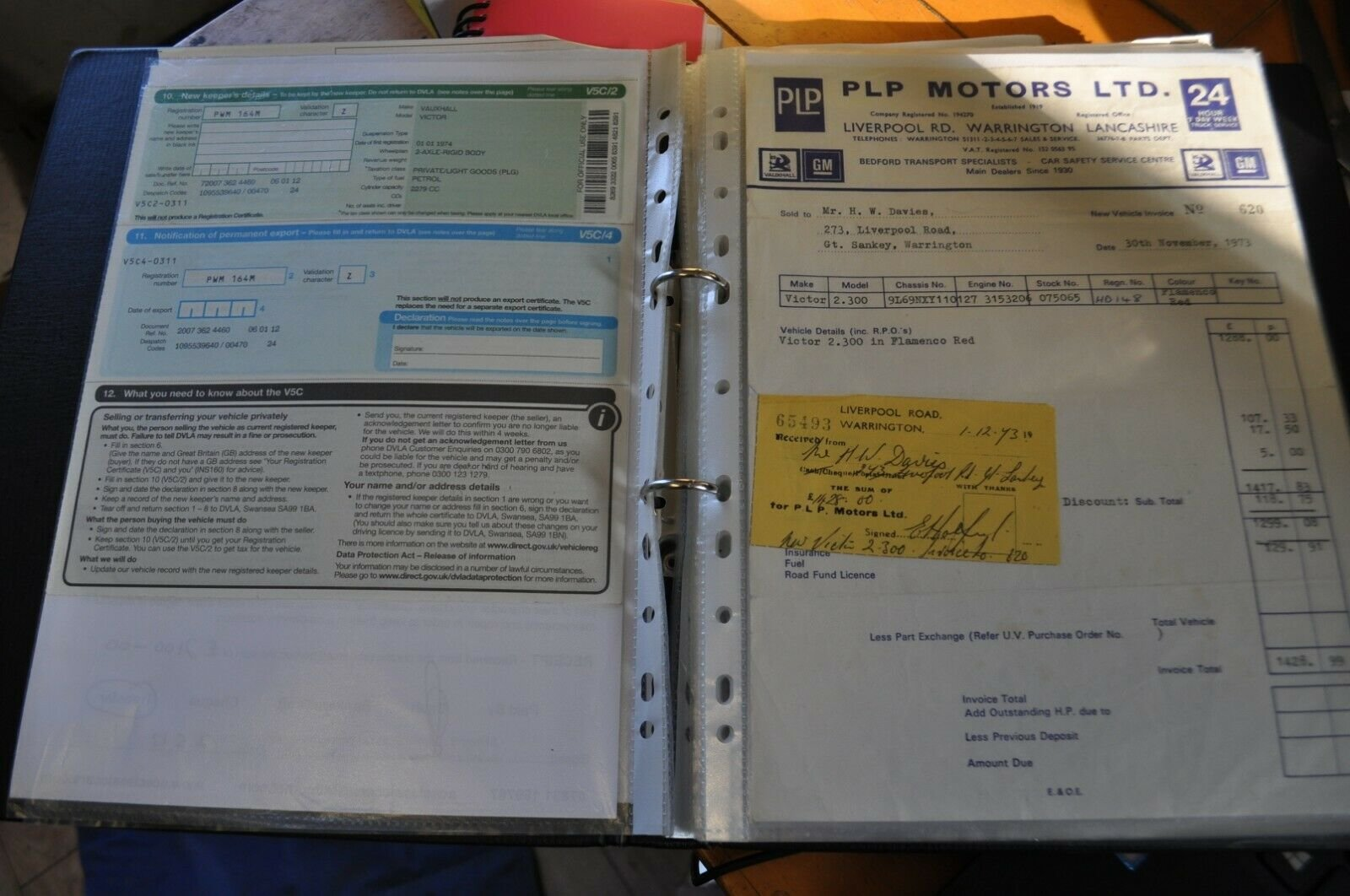1974 VAUXHALL VICTOR FE LARGE HISTORY FILE & 1ST BILL OF SALE For Sale (picture 6 of 6)