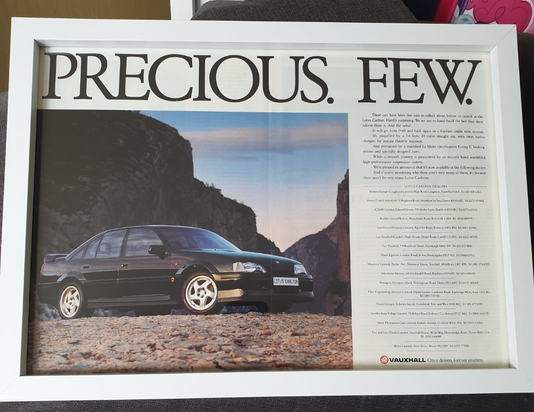 Original 1991 Lotus Carlton Framed Advert