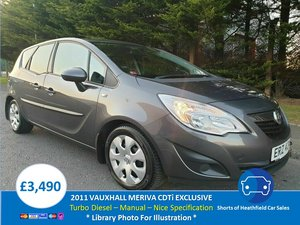 2011 Vauxhall Meriva 1.7 CDTi Exclusiv - 5 Dr MPV/Hatchback For Sale