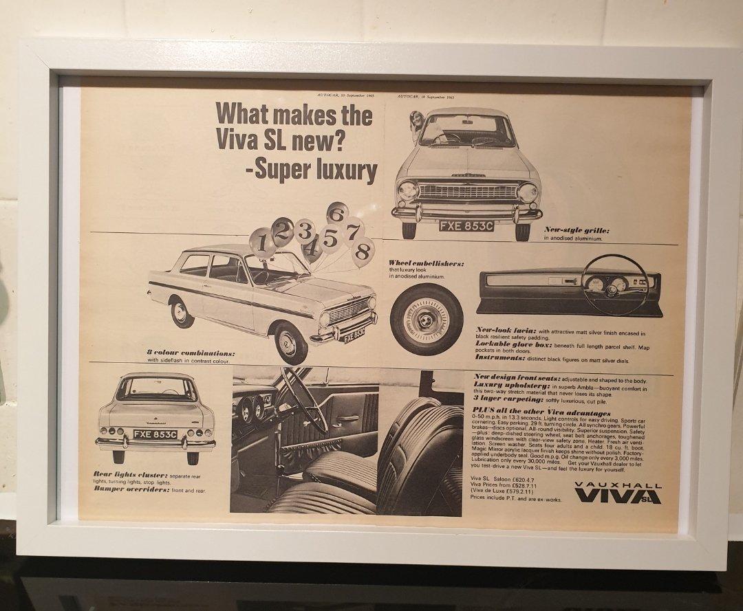 1965 Vauxhall Viva SL Framed Advert Original  For Sale (picture 1 of 2)