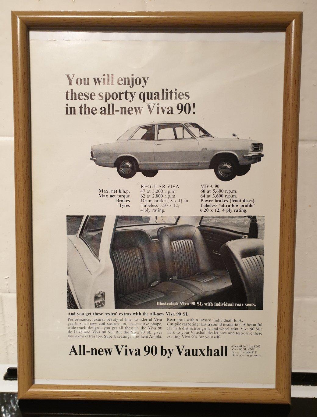 1967 Vauxhall Viva 90 Framed Advert Original  For Sale (picture 1 of 2)