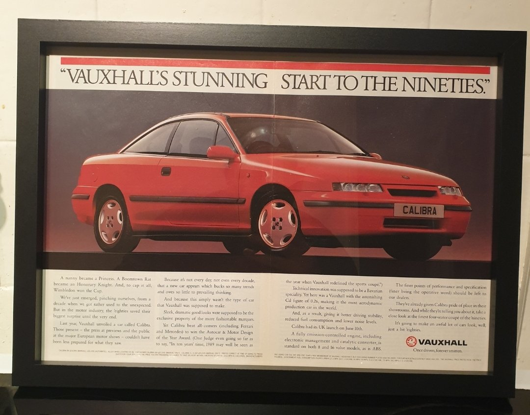 1990 Vauxhall Calibra Framed Advert Original  For Sale (picture 1 of 2)