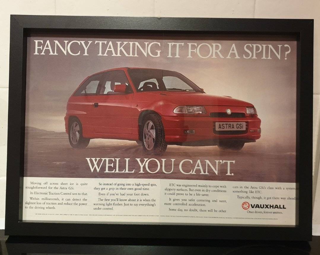 1992 Vauxhall Astra GSi Framed Advert Original  For Sale (picture 1 of 2)