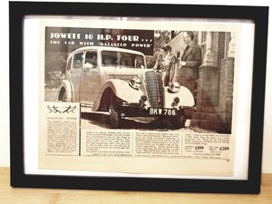 Original 1938 Jowett 10 H.P. Framed Advert