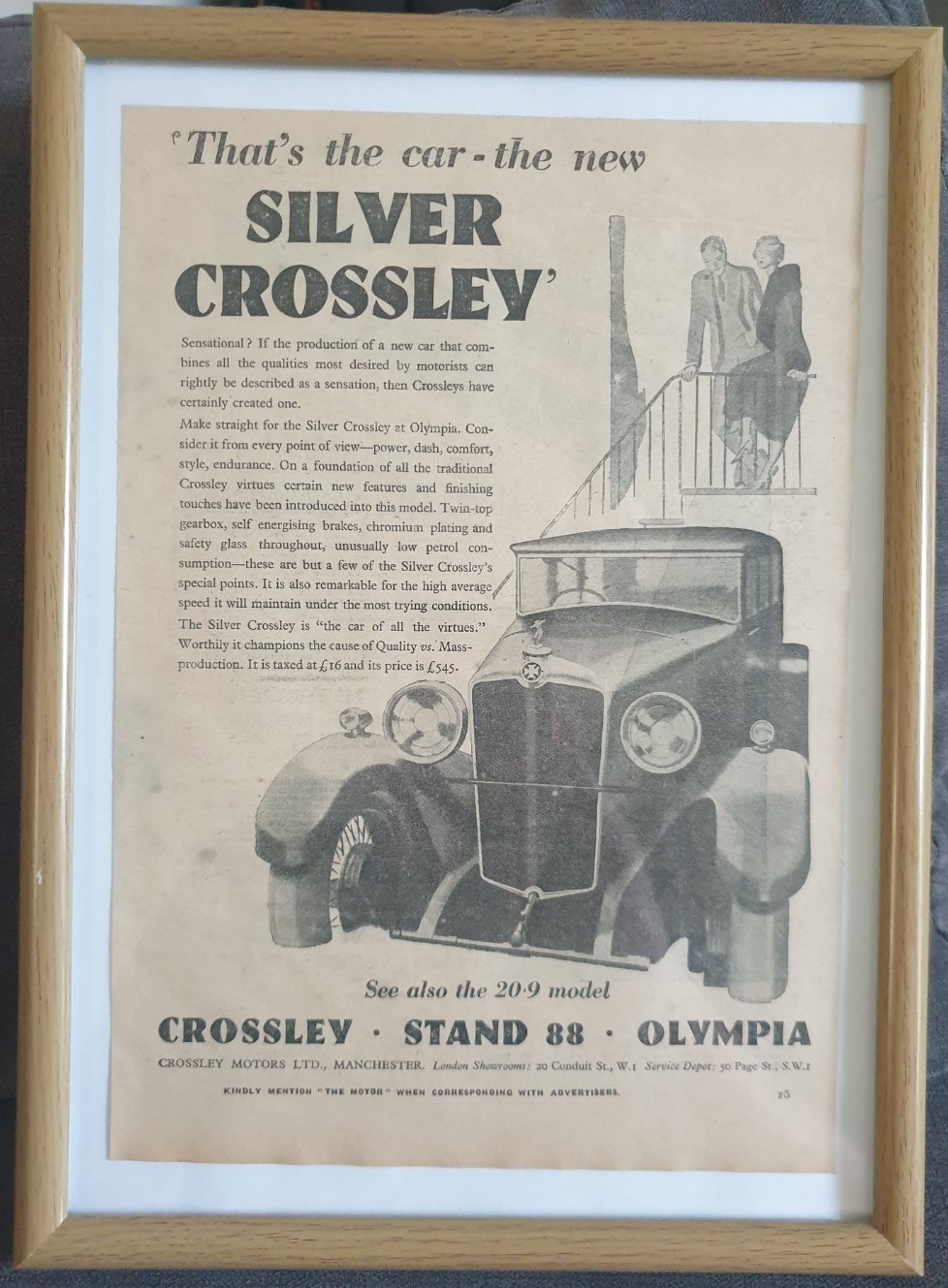 1965 Original 1930 Silver Crossley Framed Advert  For Sale (picture 1 of 3)