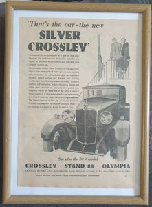 Picture of 1965 Original 1930 Silver Crossley Framed Advert