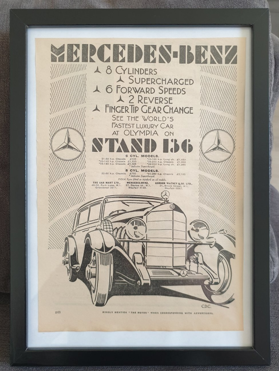 1970 Original 1930 Mercedes-Benz Framed Advert For Sale (picture 1 of 3)