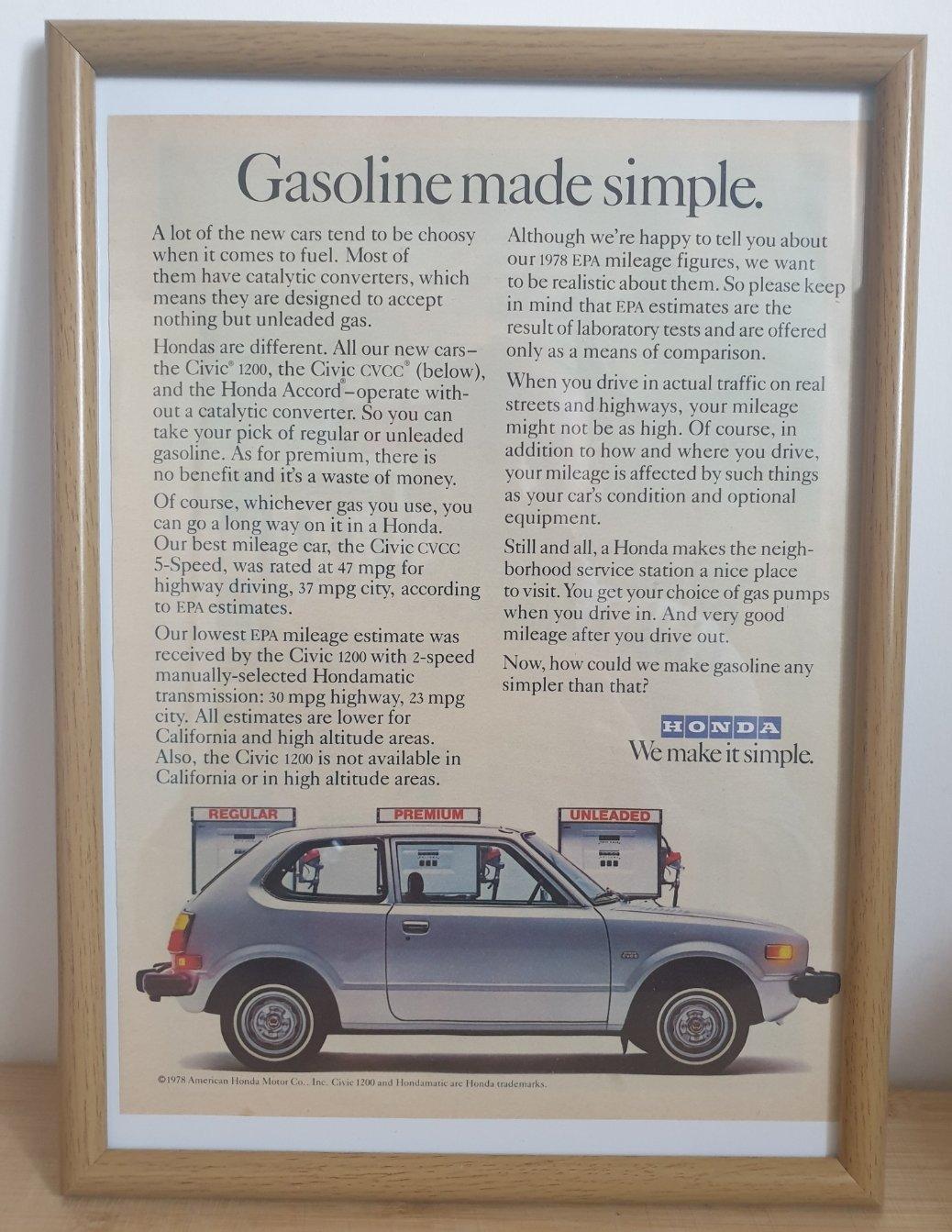 1968 Original 1978 Honda Civic Framed Advert For Sale (picture 1 of 3)
