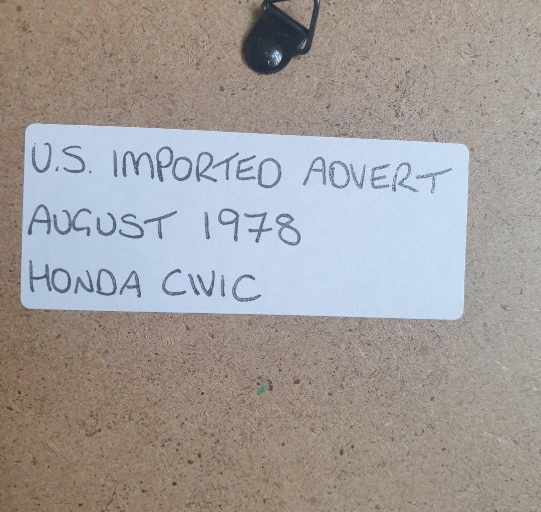 1968 Original 1978 Honda Civic Framed Advert For Sale (picture 2 of 3)