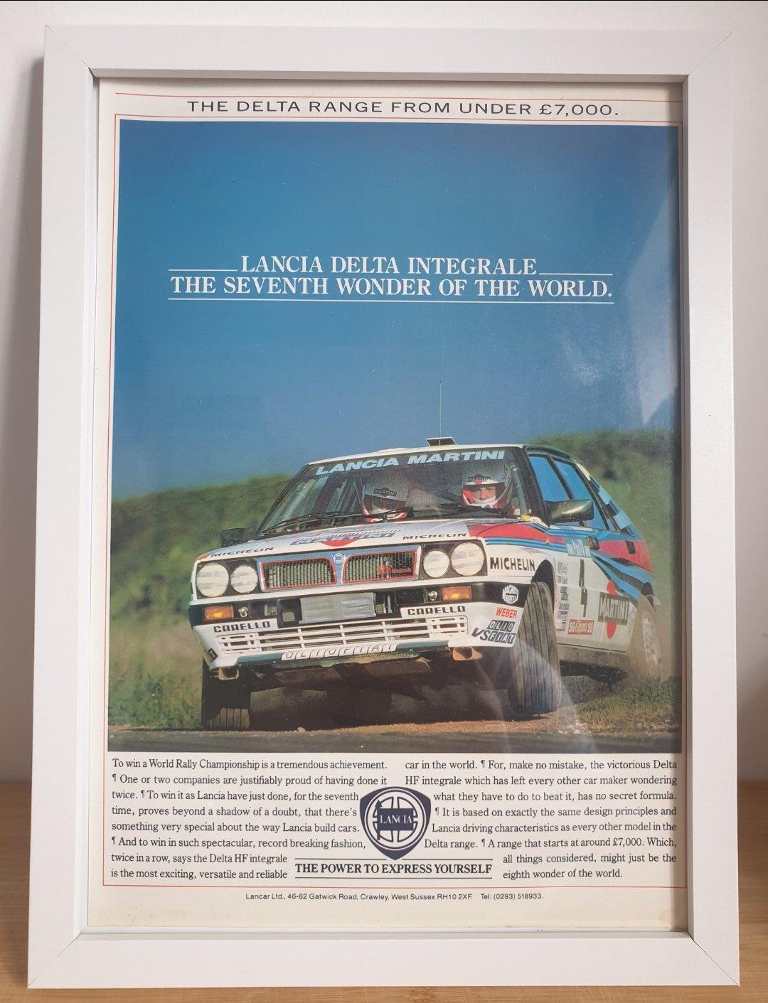 1979 Original 1989 Lancia Delta HF Integrale Framed Ad For Sale (picture 1 of 3)