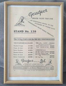 Picture of 1967 Original 1931 Peugeot 201 Framed Advert