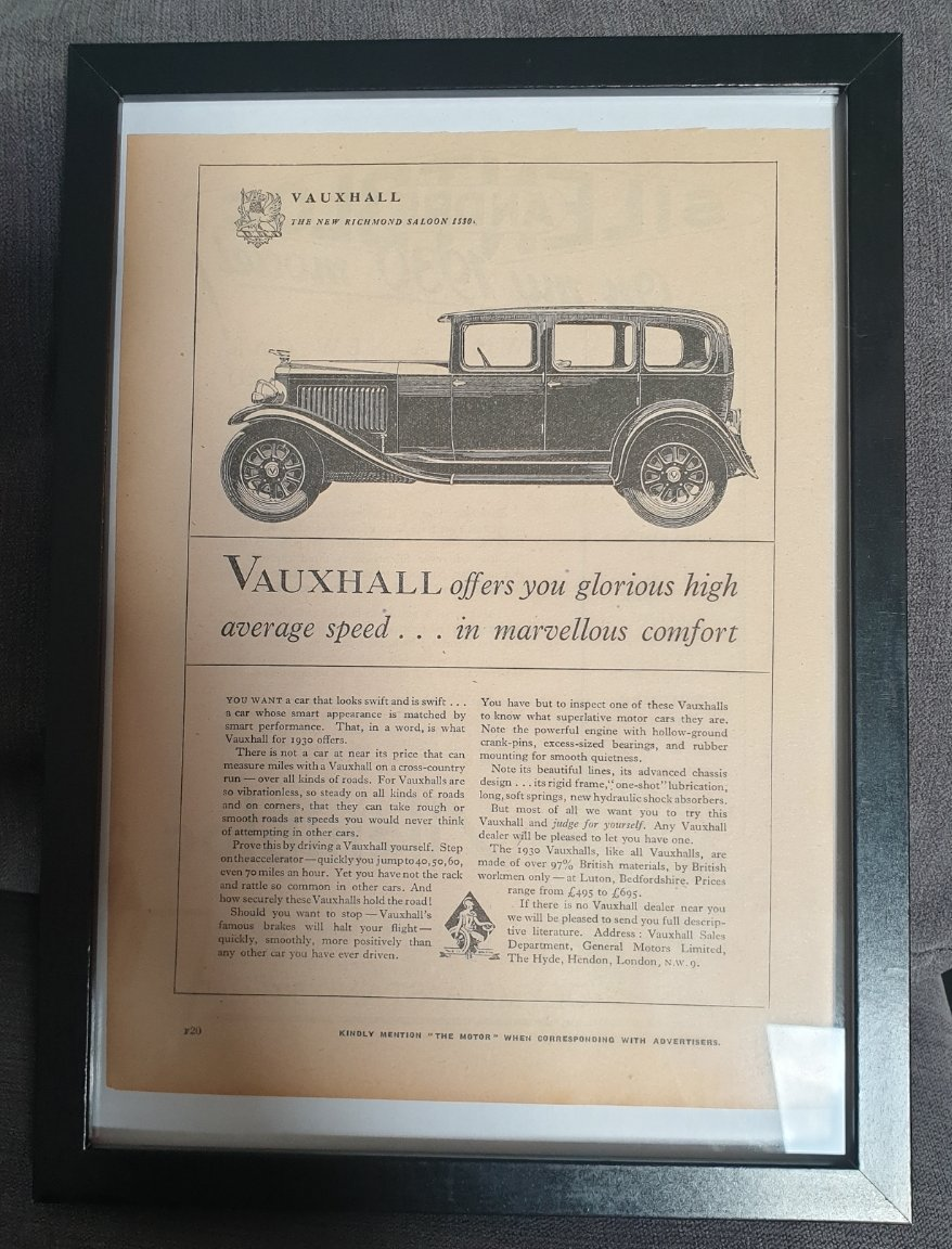 1990 Original 1929 Vauxhall Richmond Framed Advert  For Sale (picture 1 of 3)