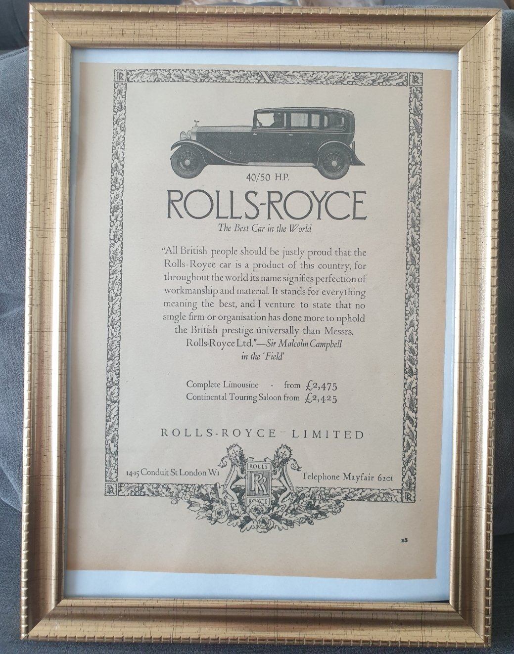 Picture of Original 1933 Rolls-Royce Phantom Framed Advert