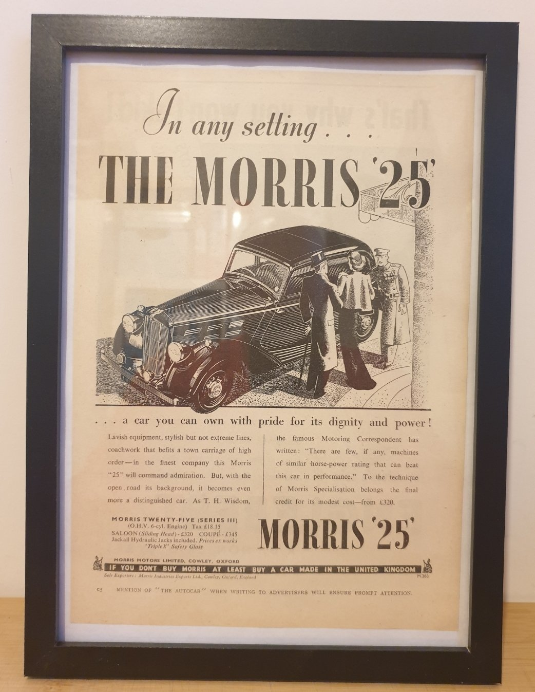 Original 1938 Morris 25 Framed Advert