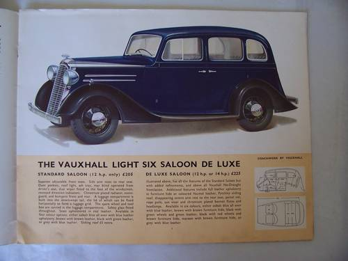 VAUXHALL LIGHT SIX 1936 SALES BROCHURE For Sale (picture 2 of 6)