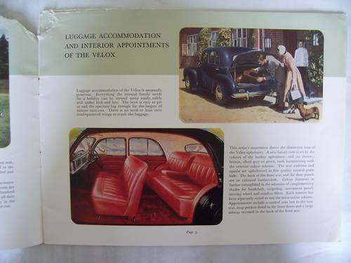 VAUXHALL VELOX-6 & WYVERN-4 SALES BROCHURE 1950 For Sale (picture 3 of 6)