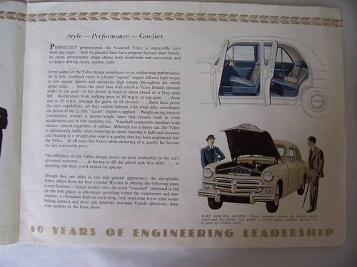 VAUXHALL VELOX & WYVERN SALES BROCHURE 1953 For Sale (picture 3 of 6)
