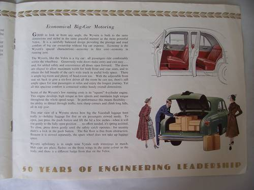 VAUXHALL VELOX & WYVERN SALES BROCHURE 1953 For Sale (picture 5 of 6)