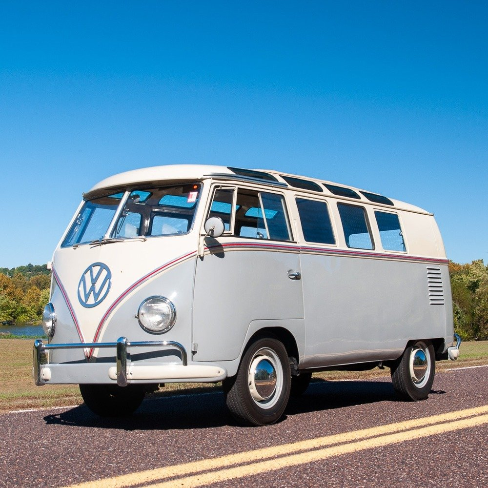 1959 Volkswagen Bus 19-Window = Rare clean Ivory(~)Grey $57. For Sale (picture 1 of 5)
