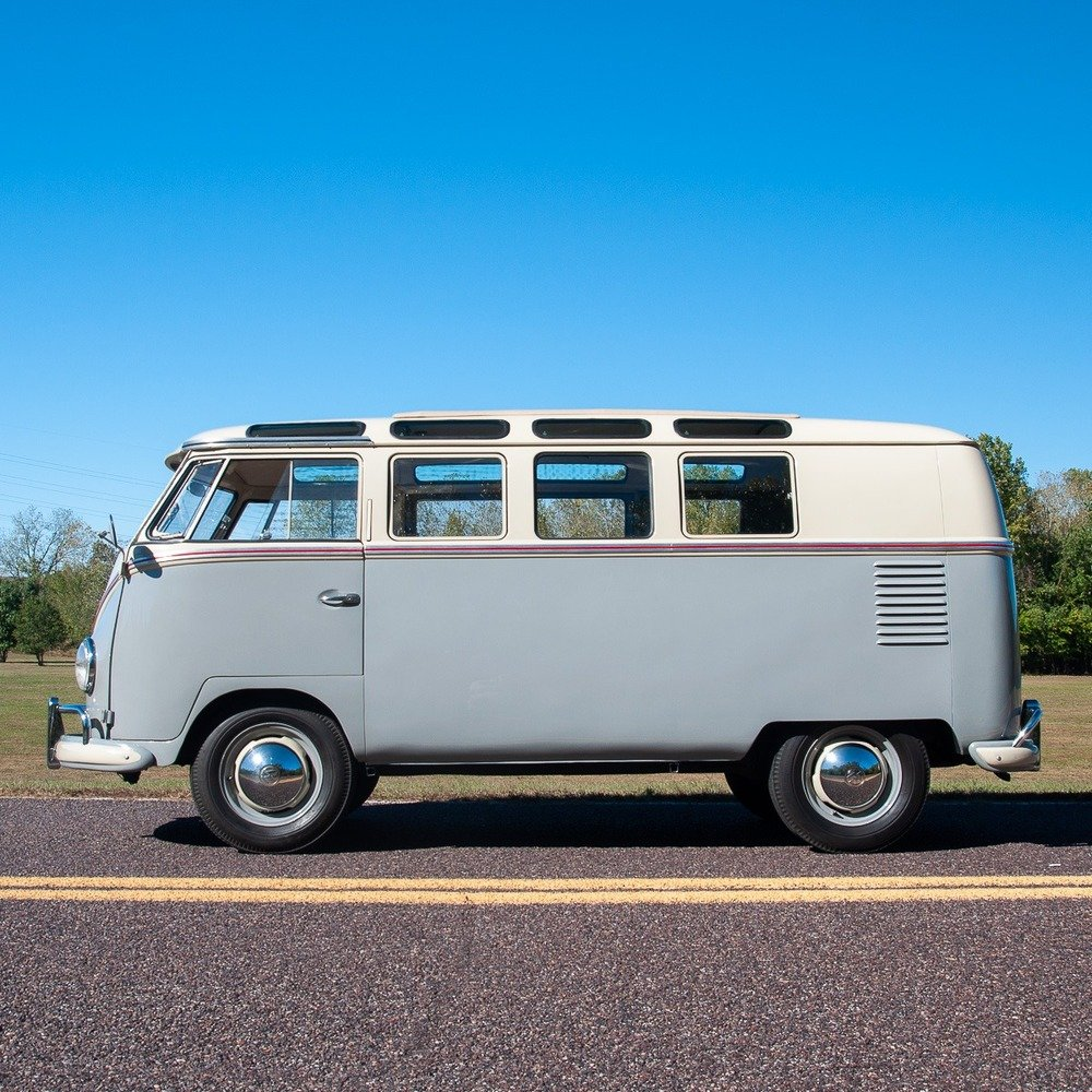 1959 Volkswagen Bus 19-Window = Rare clean Ivory(~)Grey $59. For Sale (picture 2 of 5)