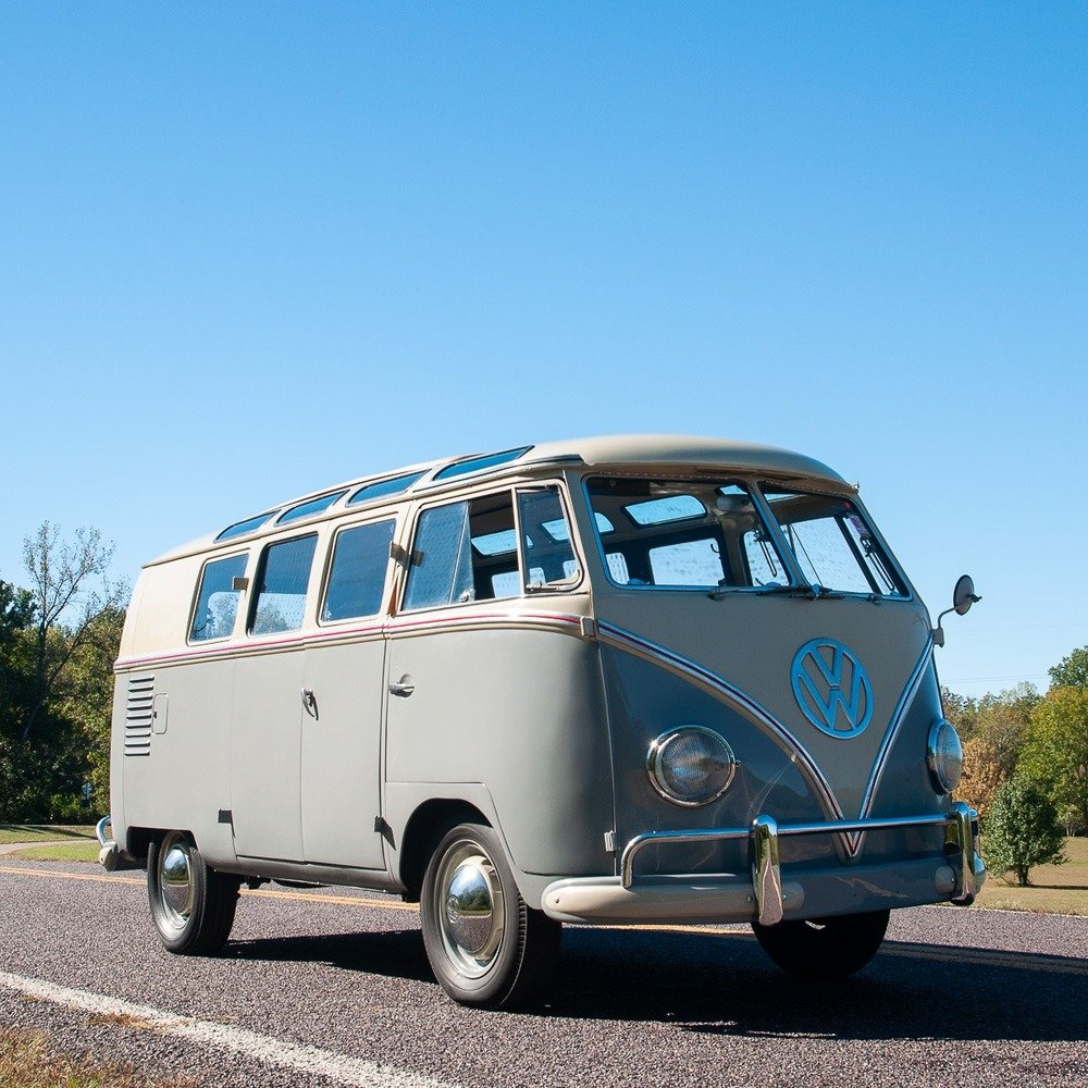 1959 Volkswagen Bus 19-Window = Rare clean Ivory(~)Grey $59. For Sale (picture 3 of 5)