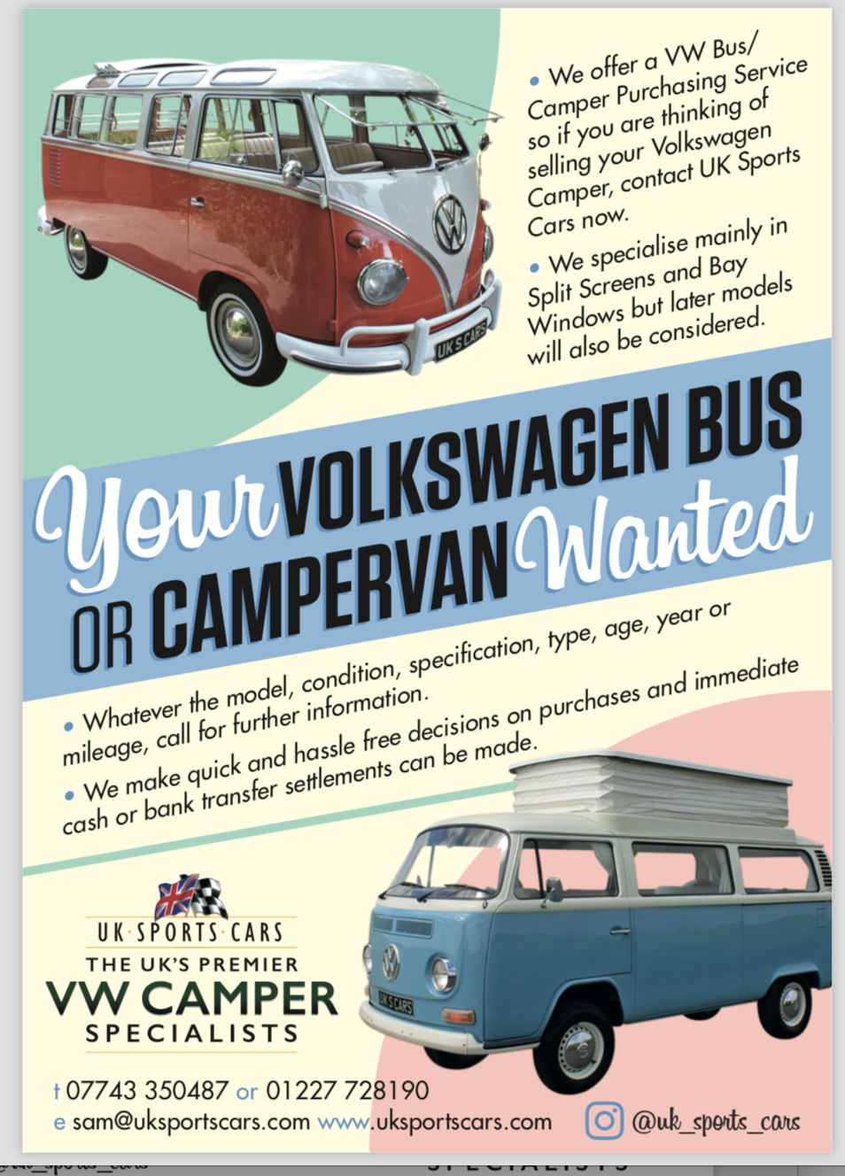 1967 VW T1 Split Screen Camper Van / Bus Purchasing Service.  For Sale (picture 1 of 1)