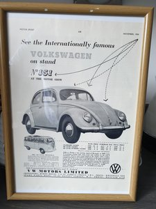 1954 VW Beetle Advert Original