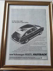 1966 VW 1600 Fastback Advert Original