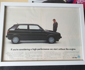 Original Golf GTi MK2 Framed Advert