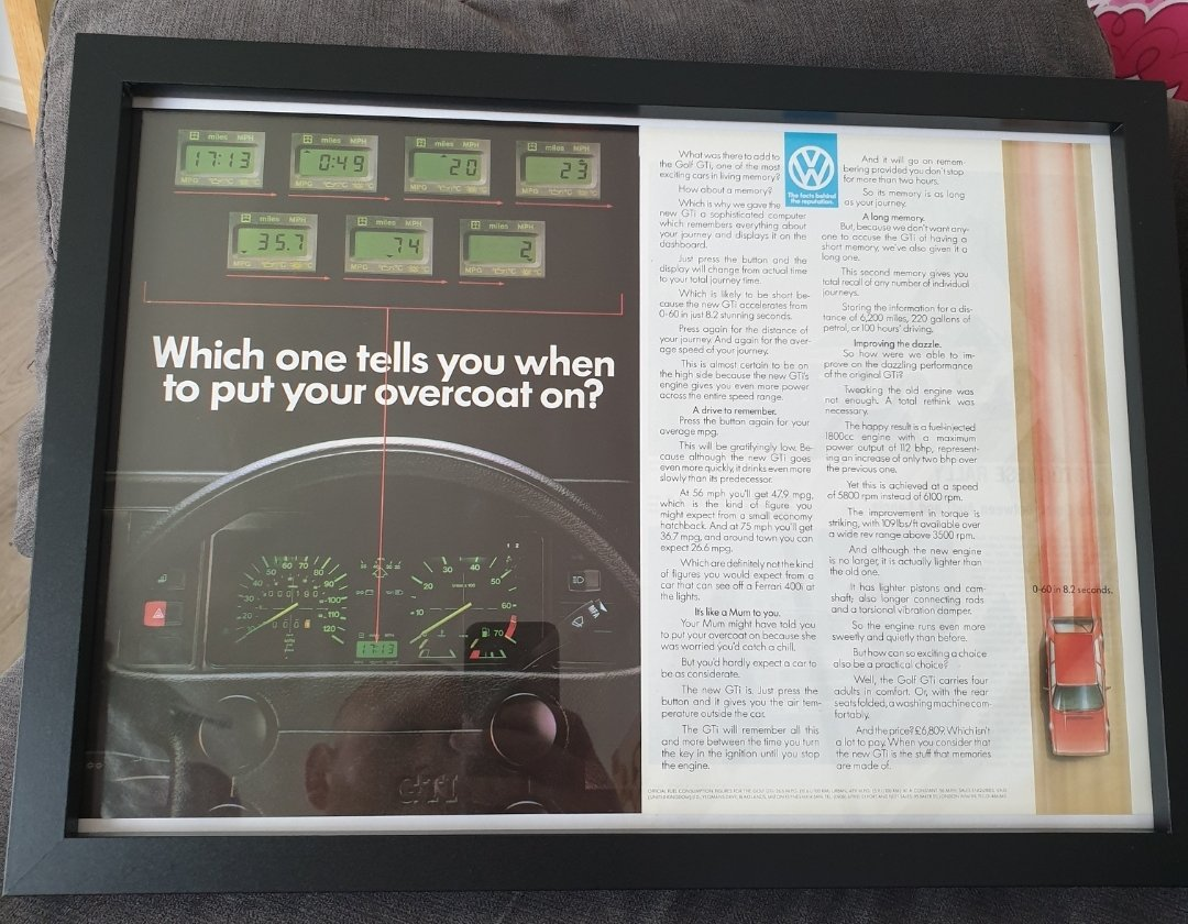 1983 Golf GTi Framed Advert Original  For Sale (picture 1 of 2)