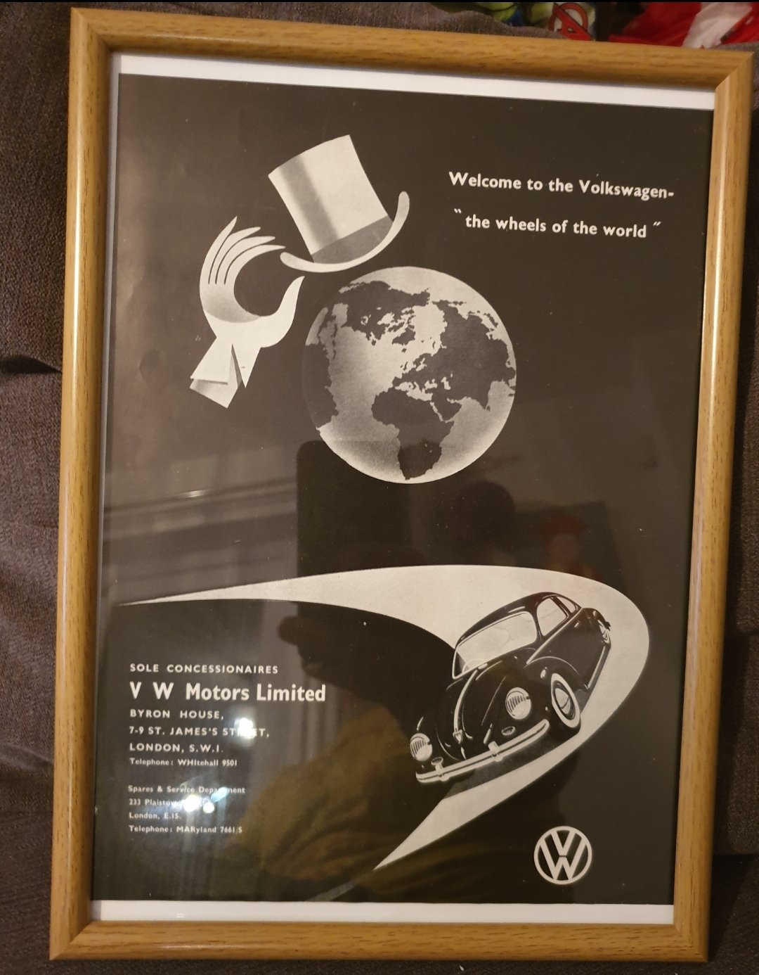 1956 Original Volkswagen Framed Advert For Sale (picture 1 of 3)