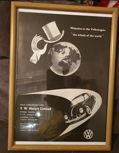 1956 Original Volkswagen Framed Advert