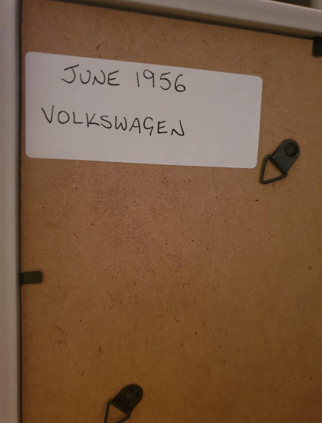 1956 Original Volkswagen Framed Advert For Sale (picture 2 of 2)