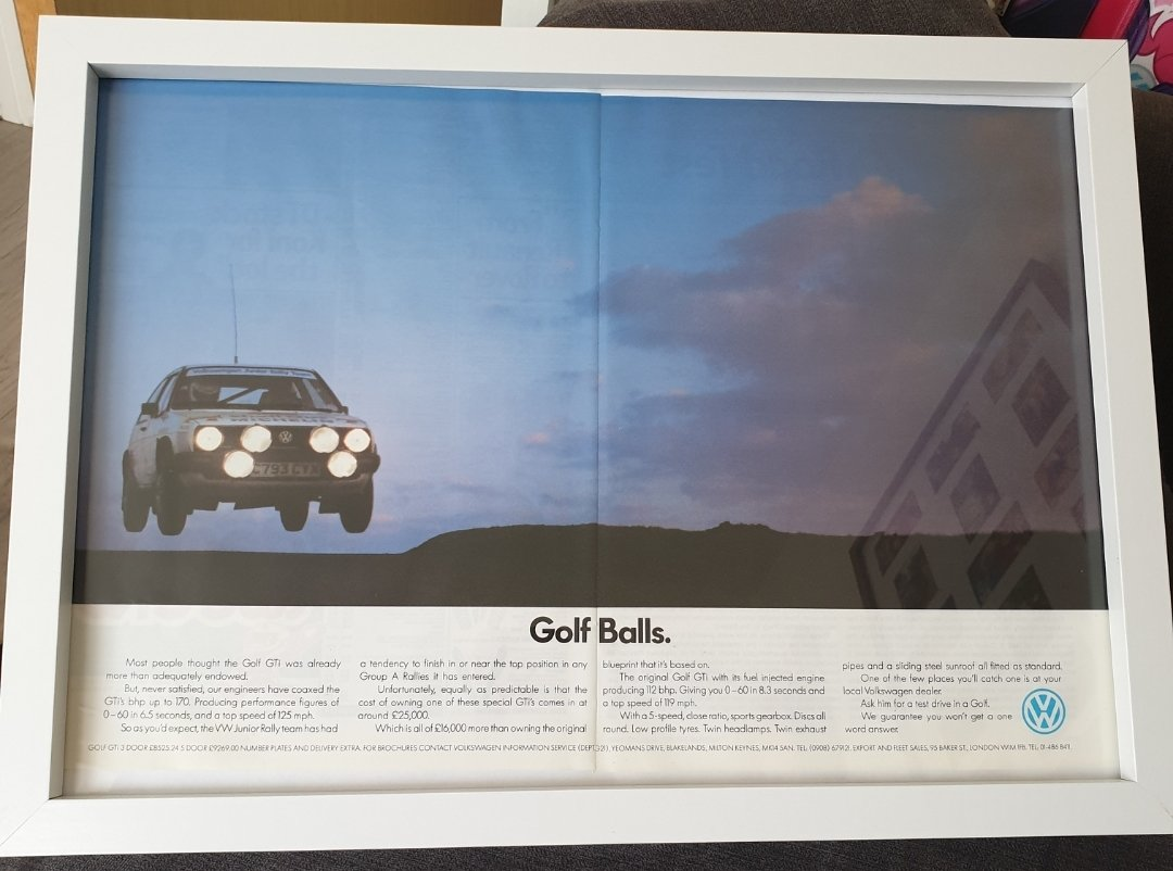 1986 Original Golf GTi Framed Advert For Sale (picture 1 of 2)
