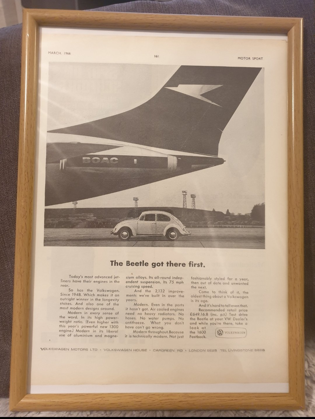 1966 VW Beetle Framed Advert Original  For Sale (picture 1 of 2)