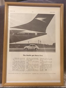 1966 VW Beetle Framed Advert Original