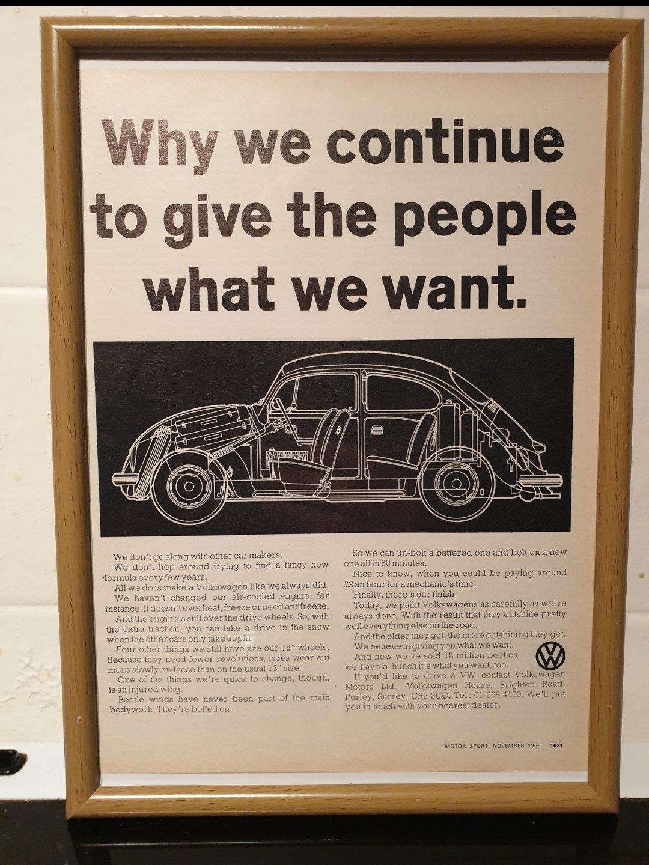 1968 Original VW Beetle Framed Advert For Sale (picture 1 of 2)