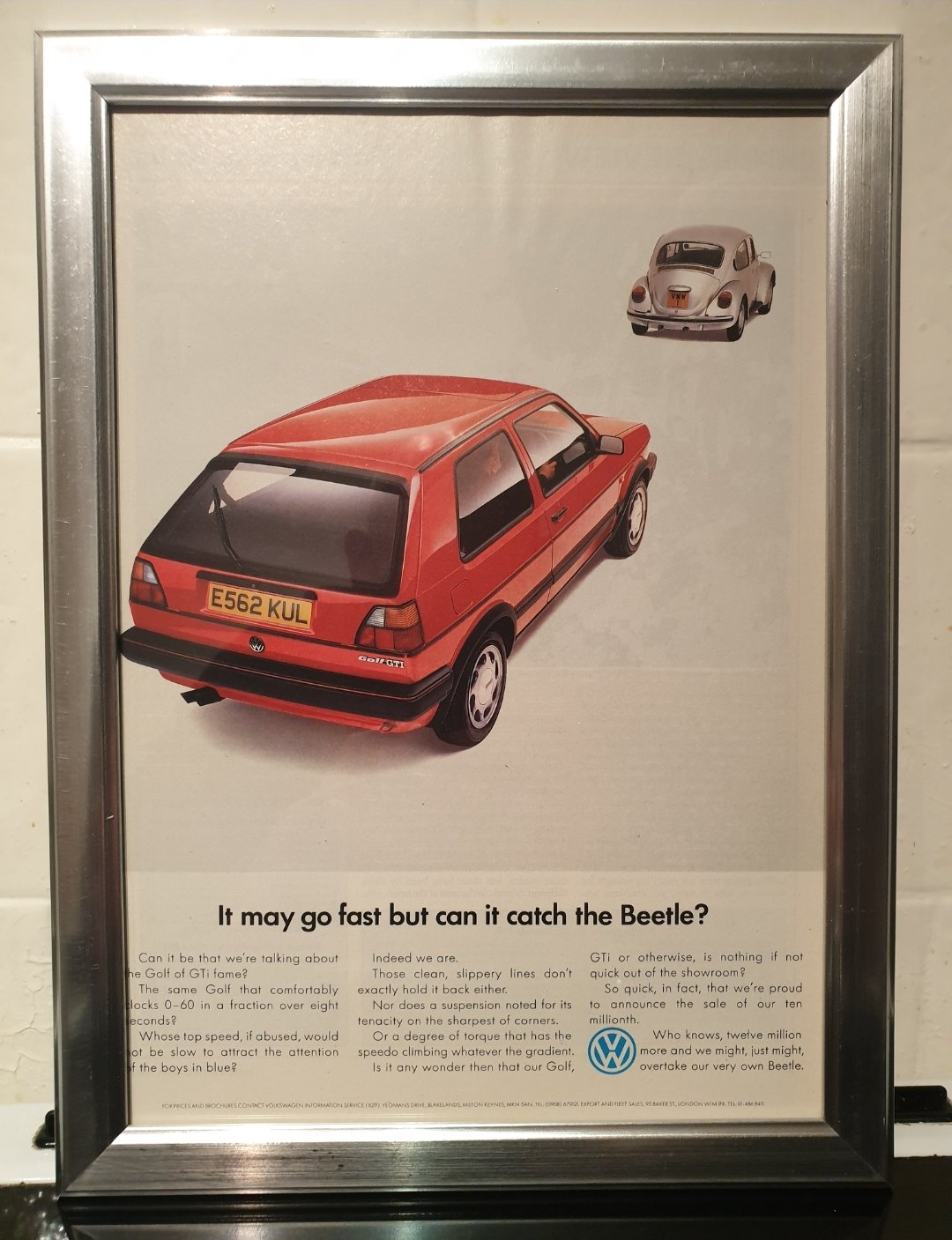1988 Golf GTi Framed Advert Original  For Sale (picture 1 of 2)