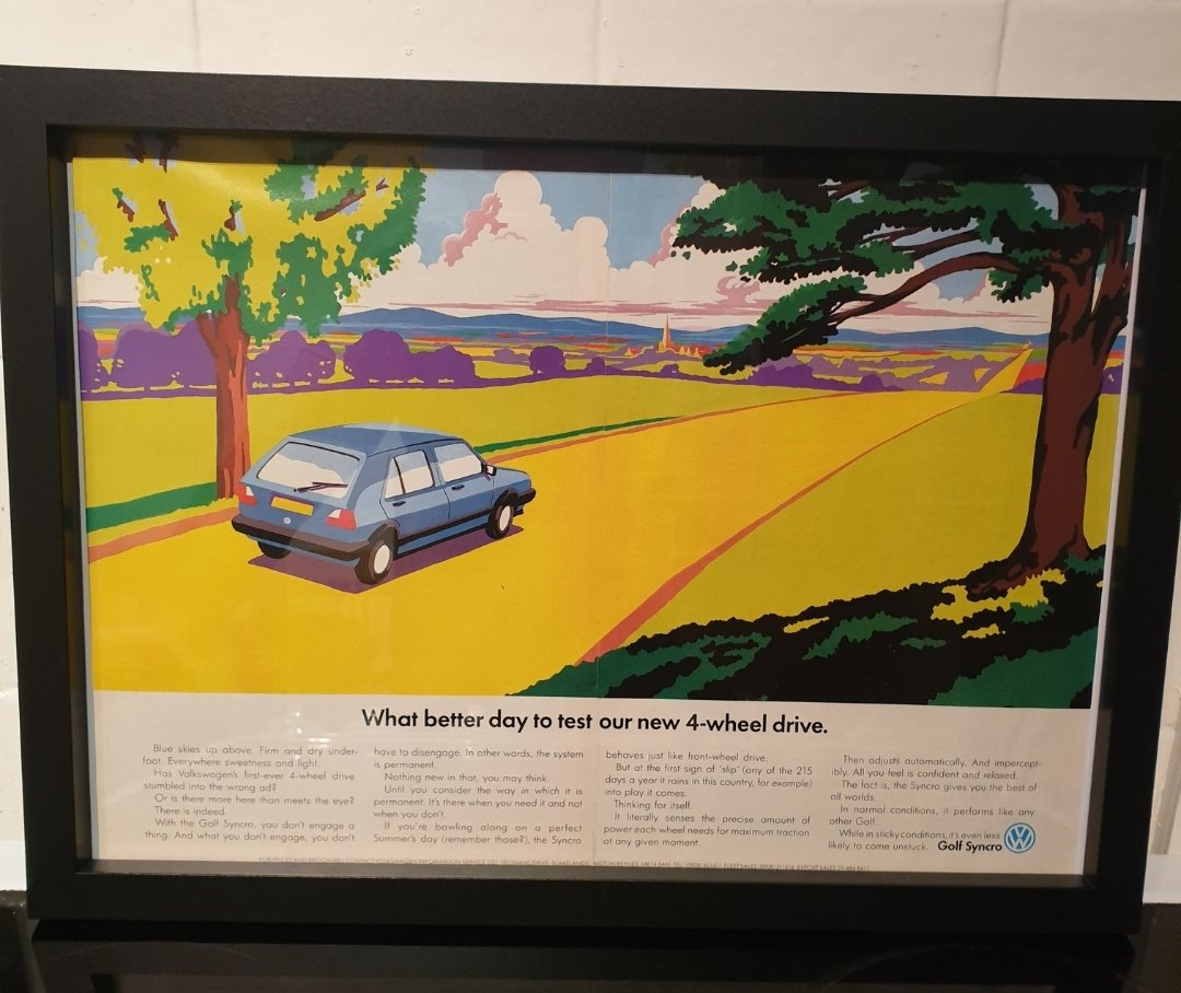1989 VW Golf Syncro Framed Advert Original  For Sale (picture 1 of 2)