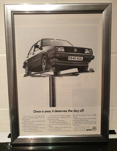 1988 Original VW Jetta Framed Advert
