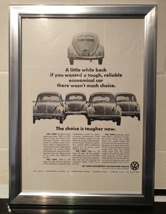 1968 VW Beetle Framed Advert Original