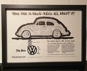 1960 VW Beetle Framed Advert Original