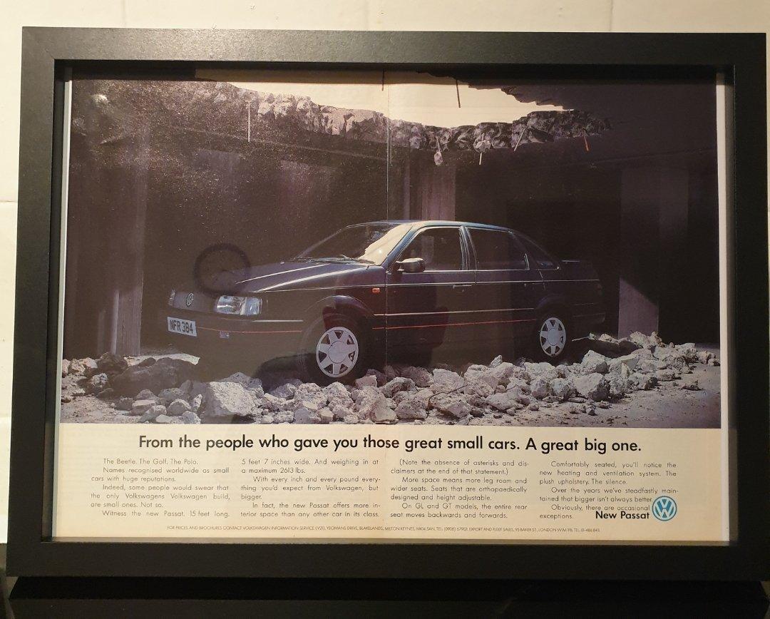 1988 VW Passat Framed Advert Original  For Sale (picture 1 of 2)