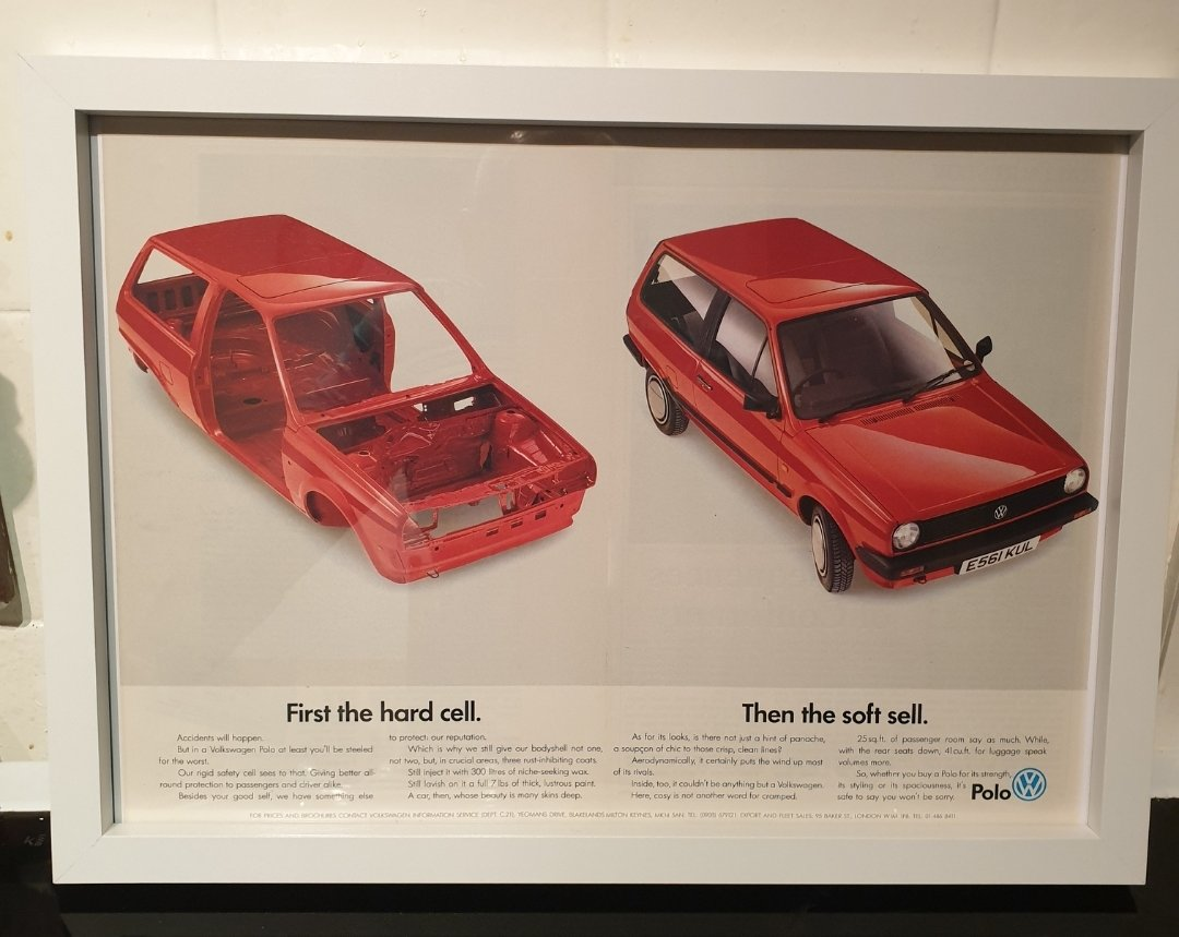 1988 Original VW Polo Framed Advert For Sale (picture 1 of 3)