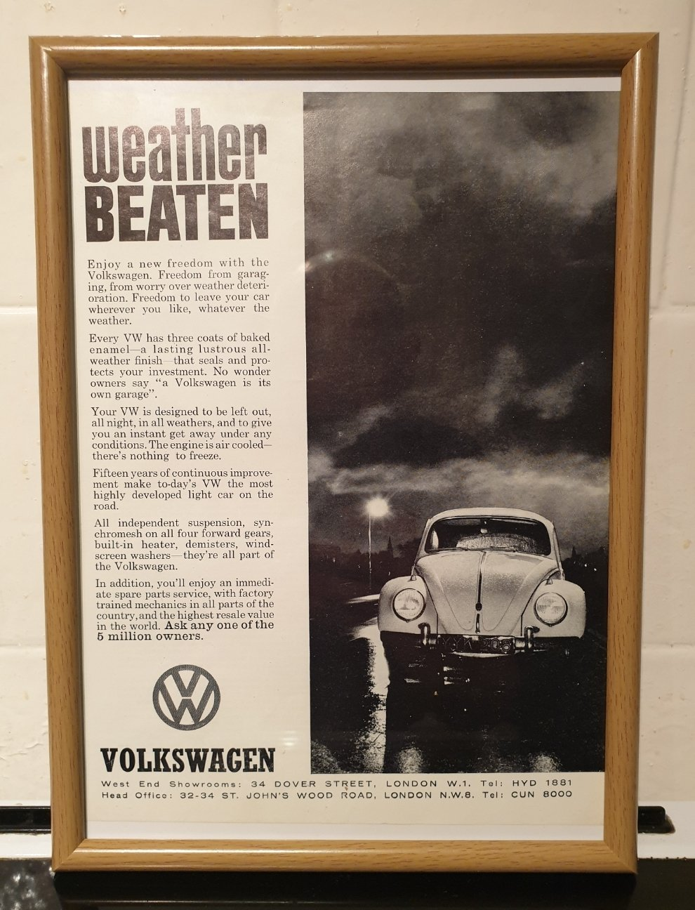 1962 VW Beetle Framed Advert Original  For Sale (picture 1 of 2)
