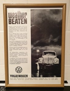 1962 VW Beetle Framed Advert Original