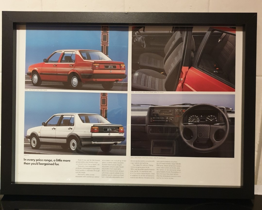1987 VW Jetta Framed Advert Original  For Sale (picture 1 of 2)