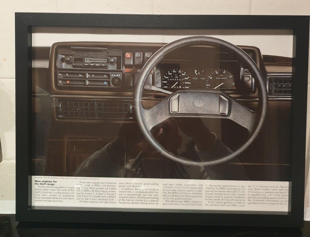 Original VW Golf MK2 Framed Advert For Sale (picture 1 of 2)