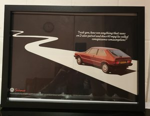 1980 VW Scirocco Framed Advert Original