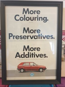 1987 VW Golf MK2 Framed Advert Original
